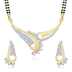 Sukkhi Intricately Gold and Rhodium Plated Cubic Zirconia Stone Studded Mangalsutra Set for Women