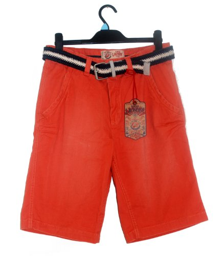 MENS STONE WASHED CHINO SHORTS WITH WOVEN BELT - ORANGE SMALL WAIST 30