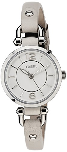 Fossil ES3808 - Reloj de cuarzo con correa de cuero para mujer, color blanco / beige