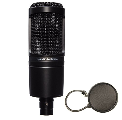 Audio-Technica AT2020 Cardioid Condenser Studio Microphone Bundle with Pop Filter (Audio Technica Mic Condenser compare prices)