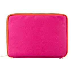 VanGoddy Irista ECO Leather Sleeve for BLU Life View Tab / Life View 8.0 / TouchBook Tablets + VanGoddy Headphones (Magenta & Citrus Orange)