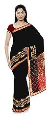 Priyam Sarees Women's Georgette Saree (Black & Cream)