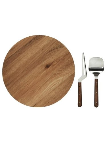 Sagaform Oval Oak Lazy Susan with Cheese Knives