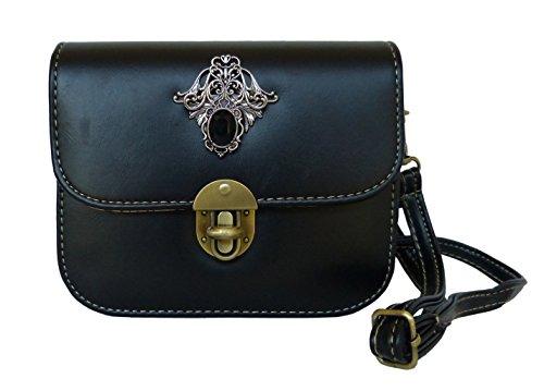 Trachtentasche-Umhngetasche-frs-Dirndl-im-Vintage-Design-Antikstil-Applikation-Schwarz-Ornament