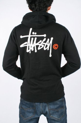 Stussy - Mens Ss Basic Logo Zip Hoodie In Black/White-Orange, Size: XX-Large, Color: Black/White-Orange