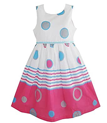 Girls Dress Blue Dot Pink Party Sundress: Vestidos De Ni?as: Clothing