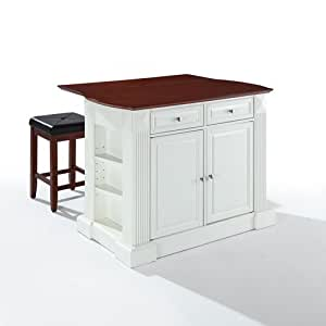 Drop Leaf Breakfast Bar Top Kitchen Island In White Finish With 24 39 39 Cherry Upholstered Square