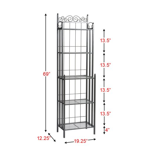 SEI Celtic 69-Inch Metal Bakers Rack