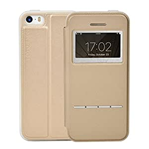Apple iPhone 5 / 5S / SE Case, Totu Design [ Touch Series - Stand ] PU Leather Back Case Cover for Apple iPhone 5 / 5S / SE ( Gold )