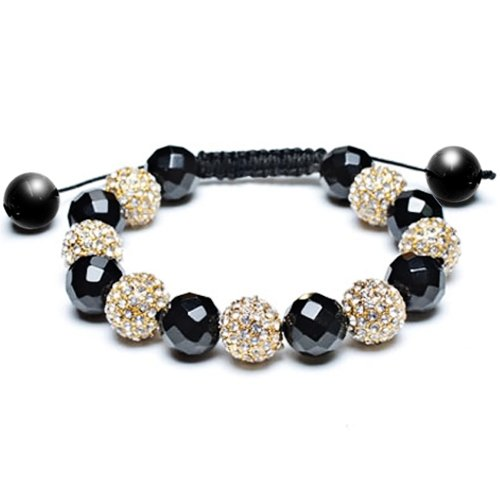 Bling Jewelry Black Onyx Bead Bracelet Shamballa Inspired Clear Gold Crystal 12mm
