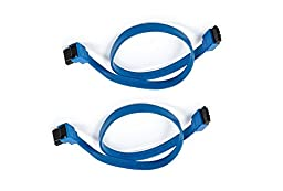 C&E 2 Pack 18inch SATA 6Gbps Cable w/Locking Latch (90 Degree to 180 Degree) - Blue, CNE568072