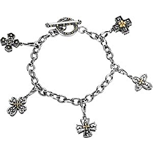Sterling Silver and 14K Yellow Gold Cross Bracelet -- LIFETIME WARRANTY