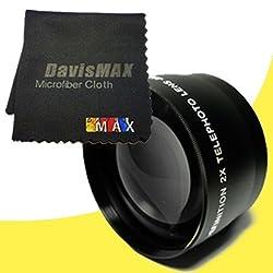58mm 2x Telephoto Lens for Nikon D3200 with Nikon 55-300mm Lens + DavisMAX Fibercloth Lens Bundle
