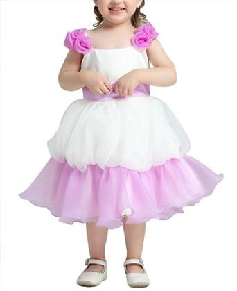DAPENE Sweet Bow Vest Princess Cake Flower Sleeve Dresses Light Purple 100
