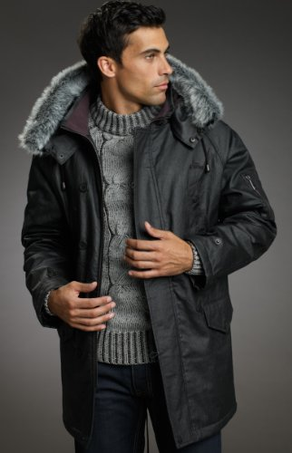 MENS COATED DENIM WATERPROOF PARKA - DETACHABLE HOOD WITH FUR TRIM - SMALL