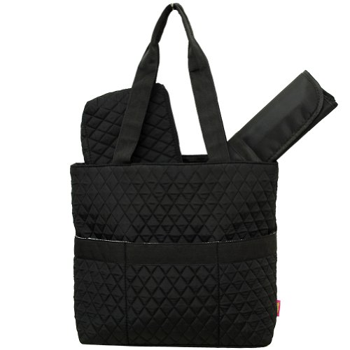 NgilTM Diamond Pattern Quilted Diaper Bag-black - 1