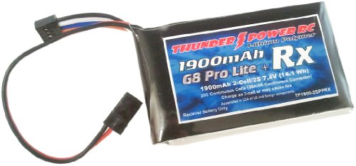Thunder Power Rc 1900Mah 2-Cell/2S 7.4V G8 Pro Lite Plus Rx Lipo Receiver Battery