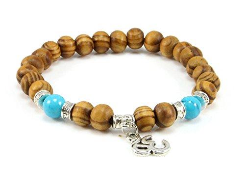 Cameleon-Shop-Bracciale tibetano estensibile perle in legno naturale, simbolo Om, 15,5 cm