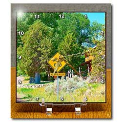 Cheap Jos Fauxtographee Realistic – A Dead End Road Sign in Pine Valley, Utah with Trees and a Cabin in Back – Desk Clocks (B008YMINSW)
