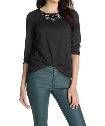ESPRIT Damen Sweatshirt 113EE1J003, Gr. 36 (S), Schwarz (001 BLACK)