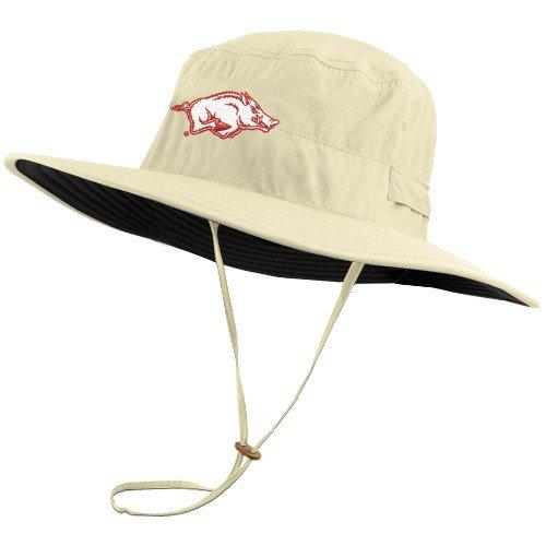 5c0b98fac9b Columbia Arkansas Razorbacks Khaki Sun Guard Booney Hat