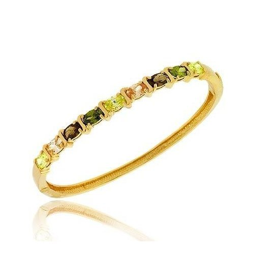 Fall Vermeil (24k Gold over Sterling Silver) Light Green, Champagne, Brown, and Olive Green cz Oval prong Stone S Design Bangle