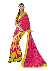 Fabdeal Pink & Yellow Georgette Printed Saree Sari Sarees