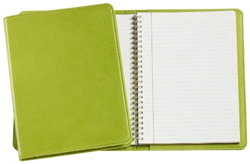 Graphic Image Wire-O-Notebook, Goatskin Leather, 9-Inches, Lime (JS9MRBLGTILIM)