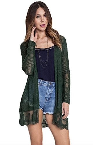 Umgee USA Women's Lightweight Lace Trimmed Open Cardigan Sweater (Small, Forest Green)