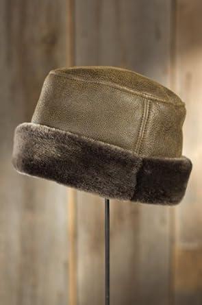 """Russian Pillbox Shearling Sheepskin Hat, RUGGED WHISKEY, Size Large (23"""" circumference)"""