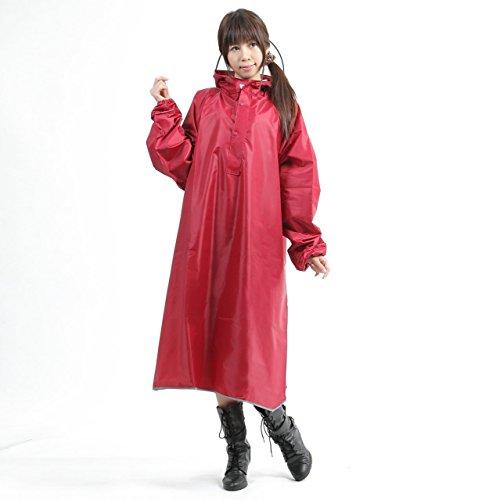 【AMARISE】 レインコート (ポンチョ タイプ、袖つき) レインウェア ワインレッド(赤紫) 男女兼用 フリーサイズ
