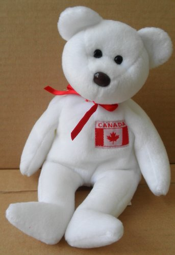 TY Beanie Babies Maple Bear Stuffed Animal Plush Toy - 8 1/2 inches tall - White with Canadian Flag on Chest - 1