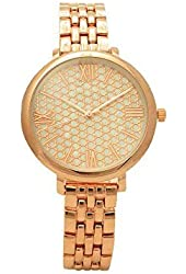 Rose Gold Tone Pave Mother of Pearl Roman Numeral Slim Band and Case Glossy Women Link Watch