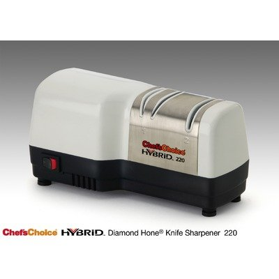 Chef's Choice 220 Hybrid Diamond Hone Knife Sharpener, White and Brushed Stainless Steel