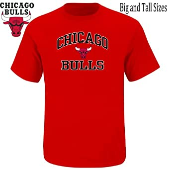NBA Majestic Chicago Bulls Big Size Heart and Soul T-Shirt - Red by Majestic