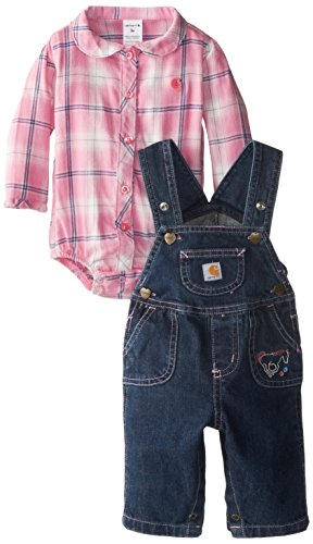 Carhartt Baby-Girls Infant Washed Denim Bib Overall Set, Medium Wash, 9 Months front-1072028