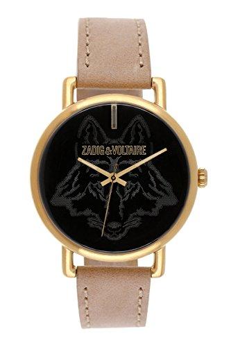 Zadig & Voltaire  - Reloj de cuarzo unisex, correa de cuero color beige
