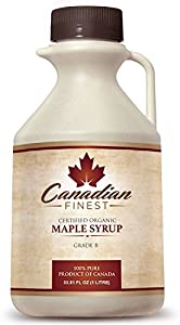CANADIAN FINEST Maple Syrup | 100% Pure Certified Organic Maple Syrup from Family Farms in Quebec, Canada - The #1 Rated Maple Syrup on Amazon! - Grade B Dark Amber (B is the Best!) - Natural, Rich, Deep-Bodied Flavour & Loaded With Minerals, Vitamins & 54 Antioxidants - 33.8oz - LIFETIME Guarantee
