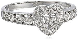 10k White Gold Diamond Heart Ring (0.03 cttw, I-J Color, I2-I3 Clarity), Size 6