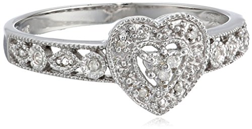 10k White Gold Diamond Heart Ring (0.03 cttw, I-J Color, I2-I3 Clarity), Size 8