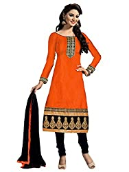 Nilkanth Enterprise Orange Dress Material
