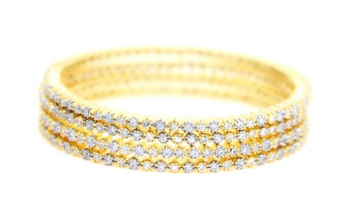 Beautiful American Diamond Bollywood 4 pec Bangle Set From Lazreena (white)
