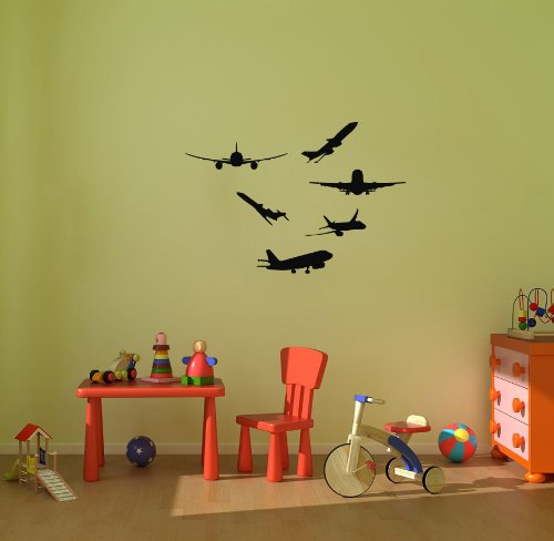 Wall Vinyl Sticker Decal Art Design Set Of Airplanes Plane Boy Baby Kid Nursery Room Room Nice Picture Decor Hall Wall Chu553 front-41760