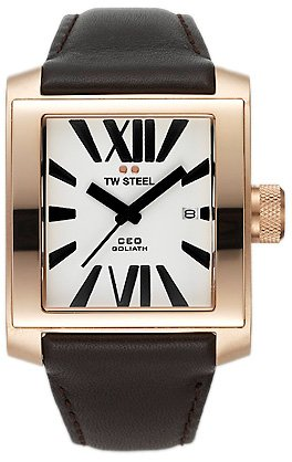 TW Steel CEO Goliath TWCE3007 - Reloj para mujeres, correa de cuero color marrón