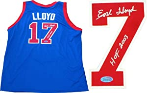 Earl Lloyd HOF 2003 Autographed Detroit Pistons Jersey by Hollywood+Collectibles