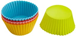 Casabella 4-Inch Large Baking Cups, Set of 6, Assorted Colors