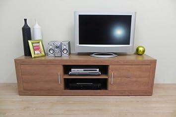 Azor - Modulo tv 2 puertas + huecos 180, medidas 180 x 40 x 51 cm, color nogal