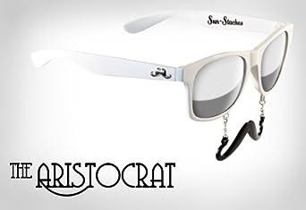 New Vintage Style Wayfarer Mustache Sunglasses White Frame Mirror Lenses Black Mustache