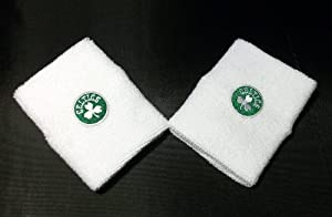Boston Celtics White Team Logo Wristbands - For Bare Feet by For Bare Feet