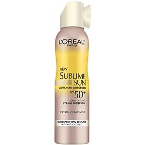 L'Oreal Paris Sublime Sun Advanced Sunscreen SPF 50+ Crystal Clear Mist, 4.2 Ounce